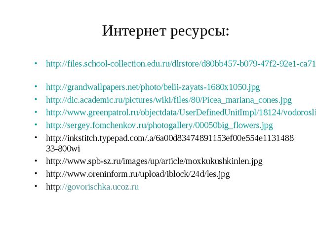 Интернет ресурсы: http://files.school-collection.edu.ru/dlrstore/d80bb457-b07...