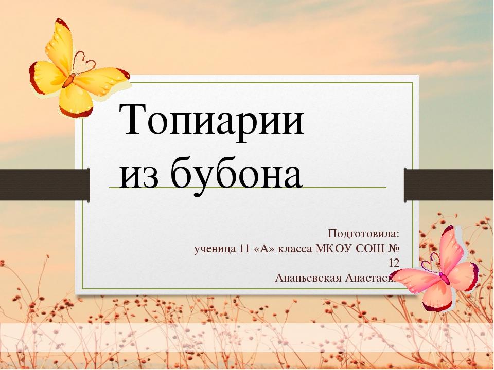Подготовила: ученица 11 «А» класса МКОУ СОШ № 12 Ананьевская Анастасия Топиа...