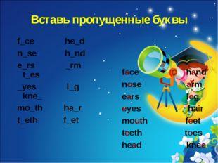 Вставь пропущенные буквы f_ce he_d n_se h_nd e_rs _rm t_es _yes l_g kne_ mo_t