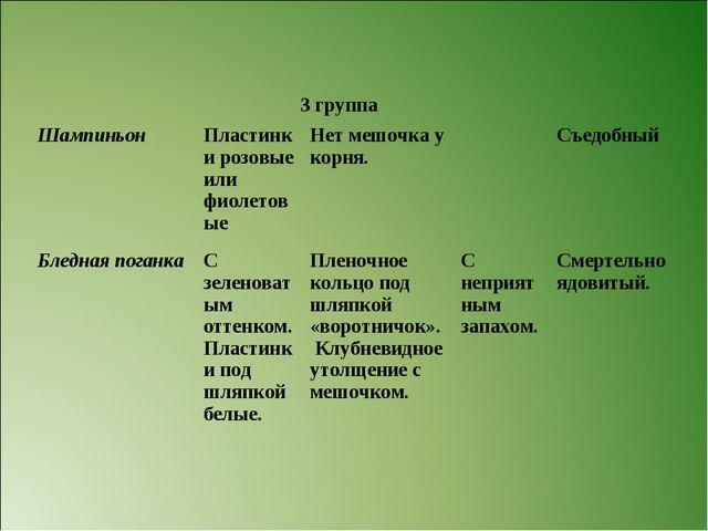 3 группа ШампиньонПластинки розовые или фиолетовыеНет мешочка у корня.С...