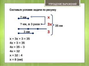 x = 8 (км) 3x x УПРОЩЕНИЕ ВЫРАЖЕНИЙ Составьте условие задачи по рисунку 3 км