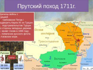 Прутский поход 1711г. Русские Турки силы З8 000 человек 135 000 человек Причи