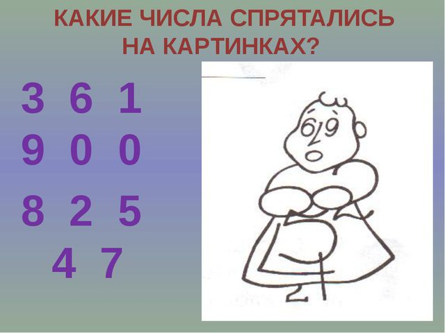 КАКИЕ ЧИСЛА СПРЯТАЛИСЬ НА КАРТИНКАХ? 3 6 1 9 0 0 8 2 5 4 7