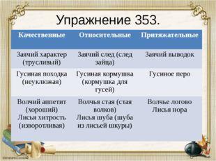 Упражнение 353. Качественные Относительные Притяжательные Заячий характер (тр