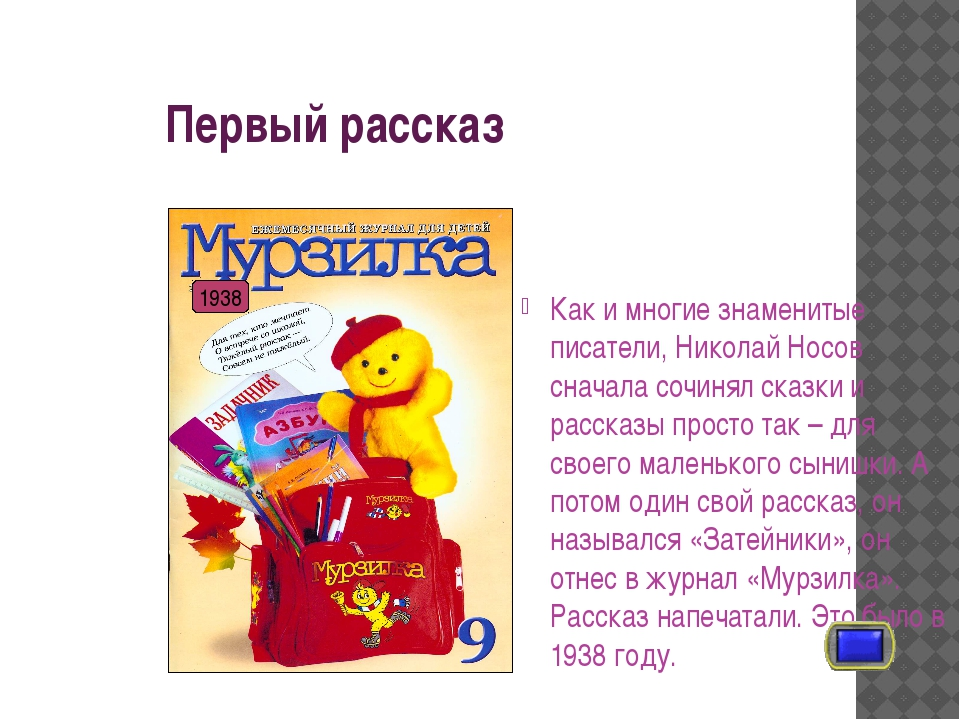 Первый рассказ Как и многие знаменитые писатели, Николай Носов сначала сочин...