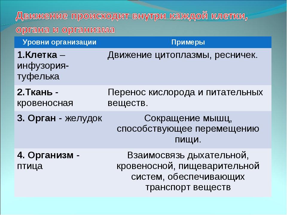 Уровни организацииПримеры 1.Клетка – инфузория-туфелькаДвижение цитоплазмы,...