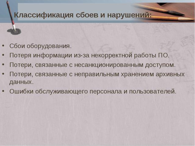 Классификация сбоев и нарушений: Сбои оборудования. Потеря информации из-за н...