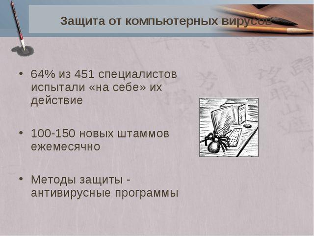 Защита от компьютерных вирусов 64% из 451 специалистов испытали «на себе» их...