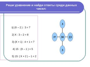 Реши уравнение и найди ответы среди данных чисел: 1) (Х – 2 ) : 3 = 7 2) Х :