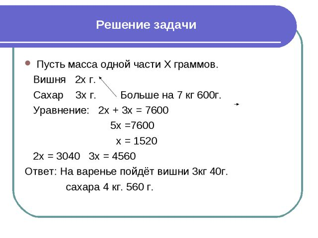 Решение задачи Пусть масса одной части Х граммов. Вишня 2х г. Сахар 3х г. Бол...