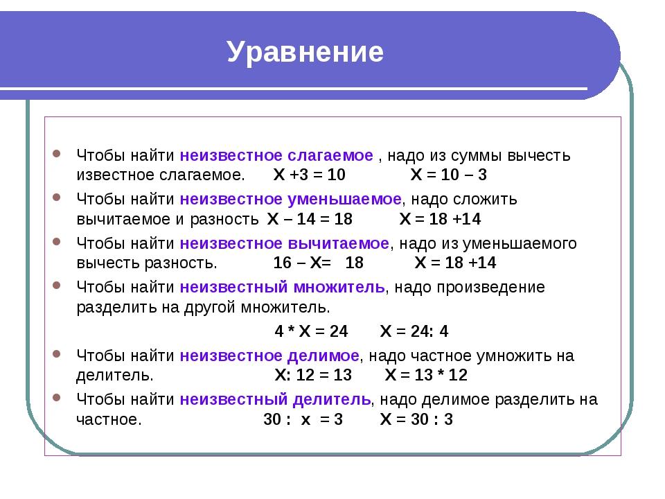 Уравнение Чтобы найти неизвестное слагаемое , надо из суммы вычесть известное...