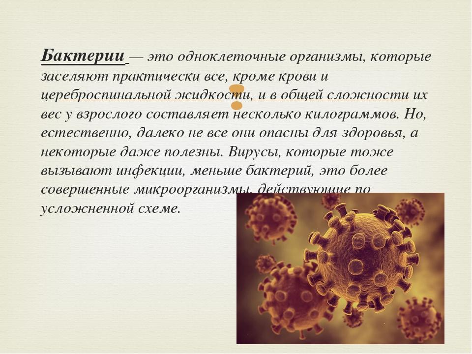 Бактерии — это одноклеточные организмы, которые заселяют практически все, кр...