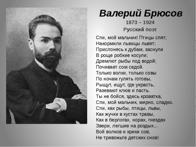 Валерий Брюсов 1873 – 1924 Русский поэт Спи, мой мальчик! Птицы спят; Накорми...