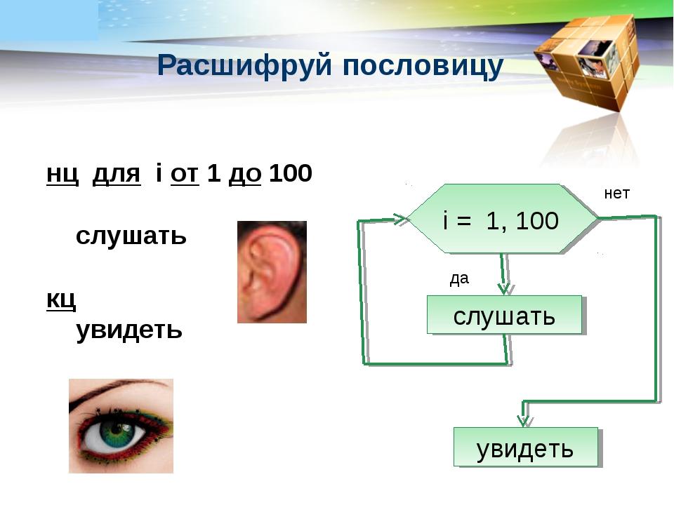 нц для i от 1 до 100 слушать кц увидеть i = 1, 100 слушать увидеть нет да Рас...