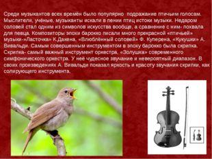 Среди музыкантов всех времён было популярно подражание птичьим голосам. Мысли