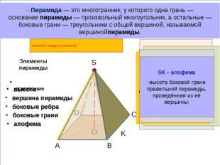S B A C D K – Пирамида— это многогранник, у которого одна грань — основание
