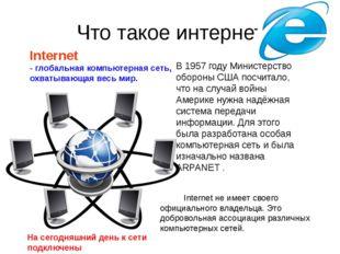 Что такое интернет Internet - глобальная компьютерная сеть, охватывающая весь
