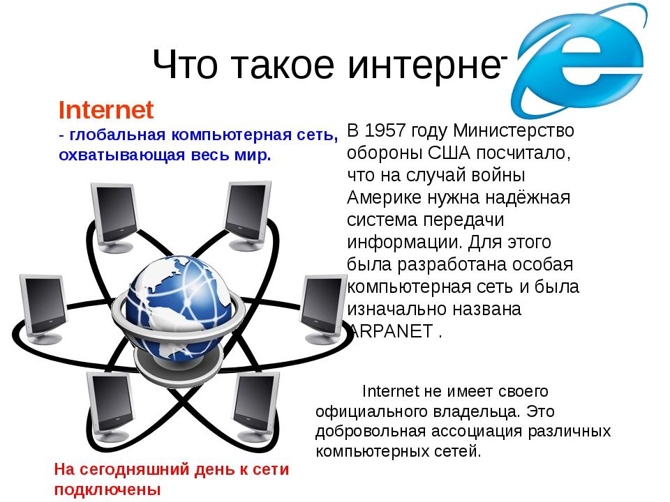 Что такое интернет Internet - глобальная компьютерная сеть, охватывающая весь...