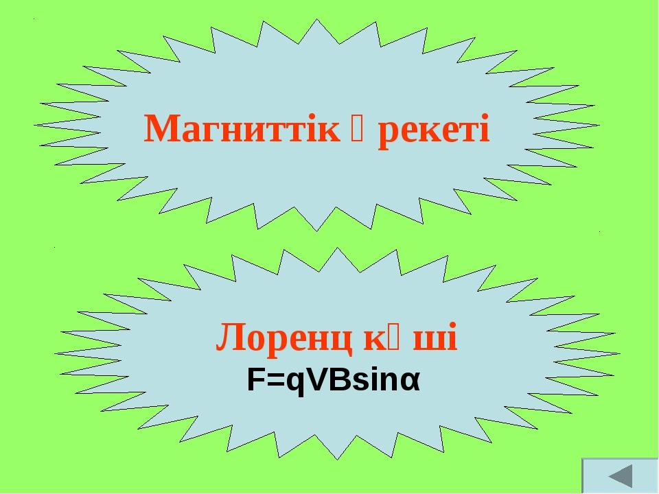 Магниттік әрекеті Лоренц күші F=qVBsinα