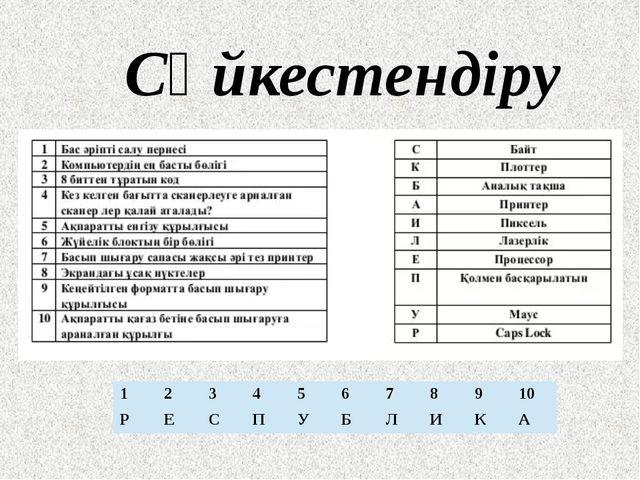 Сәйкестендіру 1 2 3 4 5 6 7 8 9 10 Р Е С П У Б Л И К А
