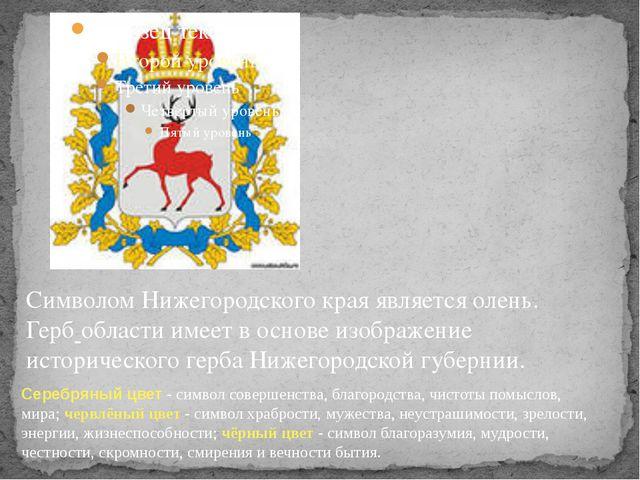 Символом Нижегородского края является олень. Герб области имеет в основе изо...
