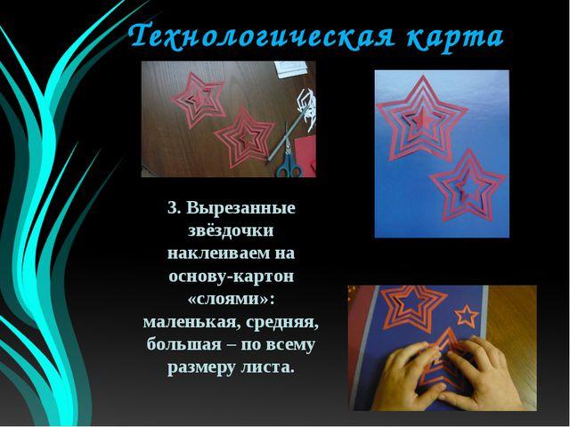 Технологическая карта 3. Вырезанные звёздочки наклеиваем на основу-картон «сл...