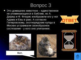 Вопрос 3 ОТВЕТ Кот. Это домашнее животное – единственное не упоминающееся в Б