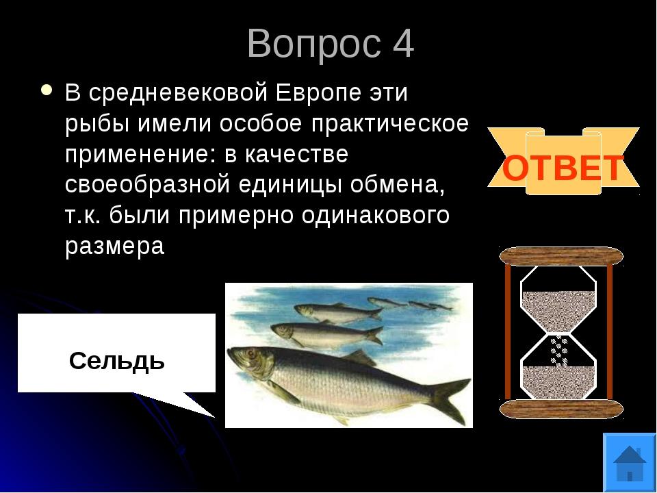 Вопрос 4 В средневековой Европе эти рыбы имели особое практическое применение...