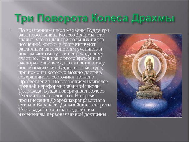 По воззрениям школ махаяны Будда три раза поворачивал Колесо Дхармы: это знач...