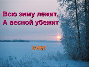 Всю зиму лежит, А весной убежит снег