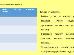 3.Активизация изученного материала. 1) Работа с таблицей. Ребята, у вас на па