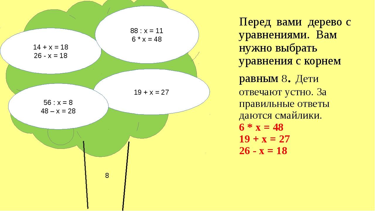 Перед вами дерево с уравнениями. Вам нужно выбрать уравнения с корнем равным...