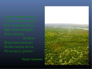 «Какие дивные места: Лесов могучих край, Река зовущая чиста - Прохладу набира