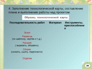 4. Заполнение технологической карты, составление плана и выполнение работы на