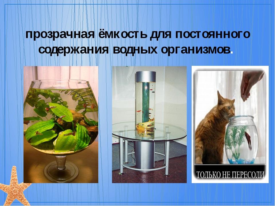 Аква́риум (лат. aquarium) — прозрачная ёмкость для постоянного содержания вод...