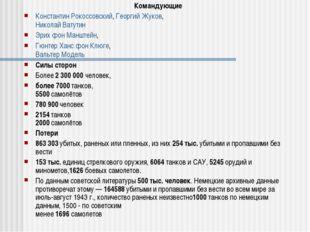 Командующие Константин Рокоссовский, Георгий Жуков, Николай Ватутин Эрих фон