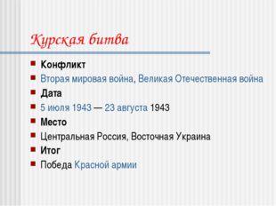 Курская битва Конфликт Вторая мировая война, Великая Отечественная война Дата