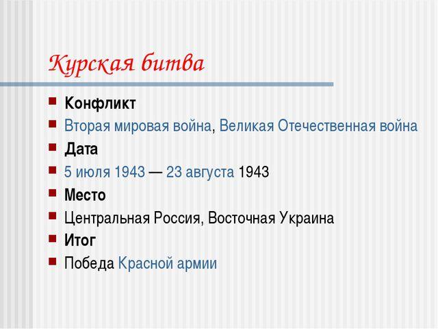 Курская битва Конфликт Вторая мировая война, Великая Отечественная война Дата...