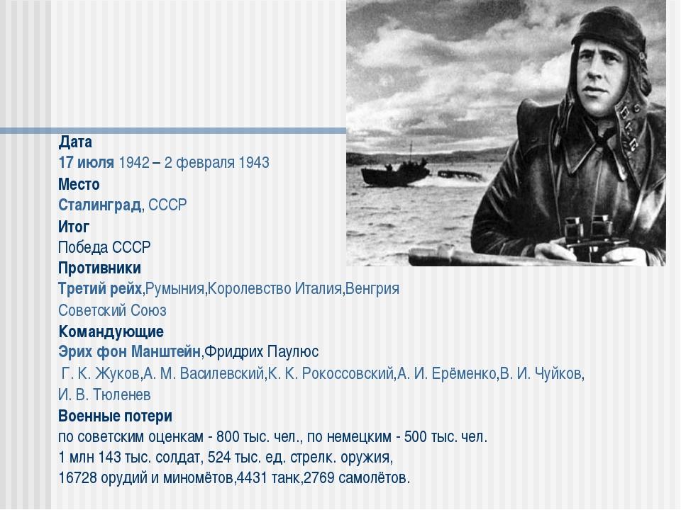 Дата 17 июля 1942 – 2 февраля 1943 Место Сталинград, СССР Итог Победа СССР Пр...
