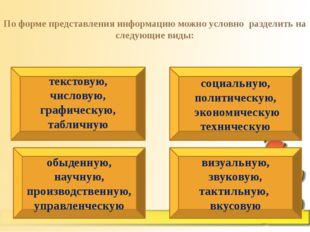 По форме представления информацию можно условно разделить на следующие виды: