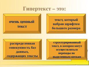 Гипертекст – это: очень ценный текст текст, который набран шрифтом большого р