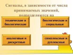 Сигналы, в зависимости от числа принимаемых значений, подразделяются на техни