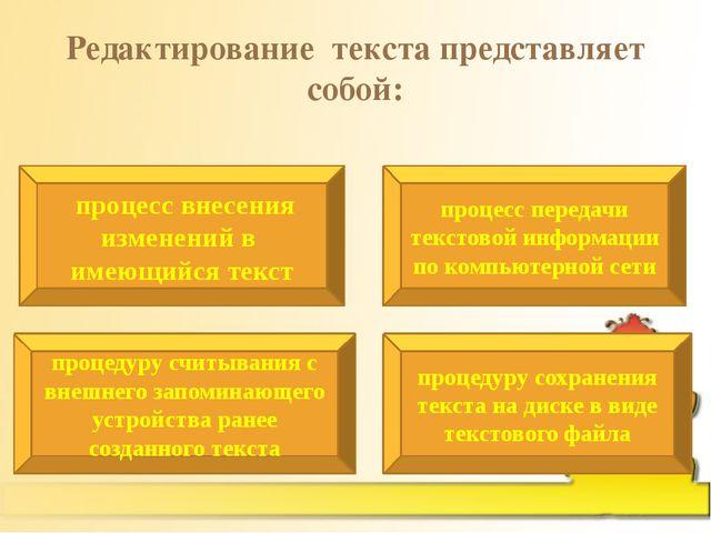 Редактирование текста представляет собой: процесс внесения изменений в имеющи...