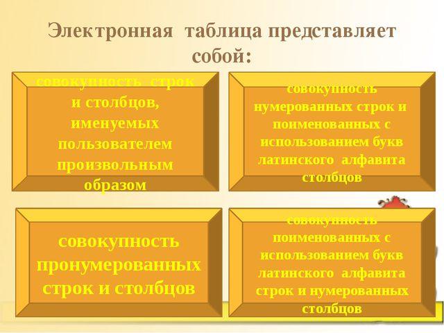 Электронная таблица представляет собой: совокупность строк и столбцов, именуе...