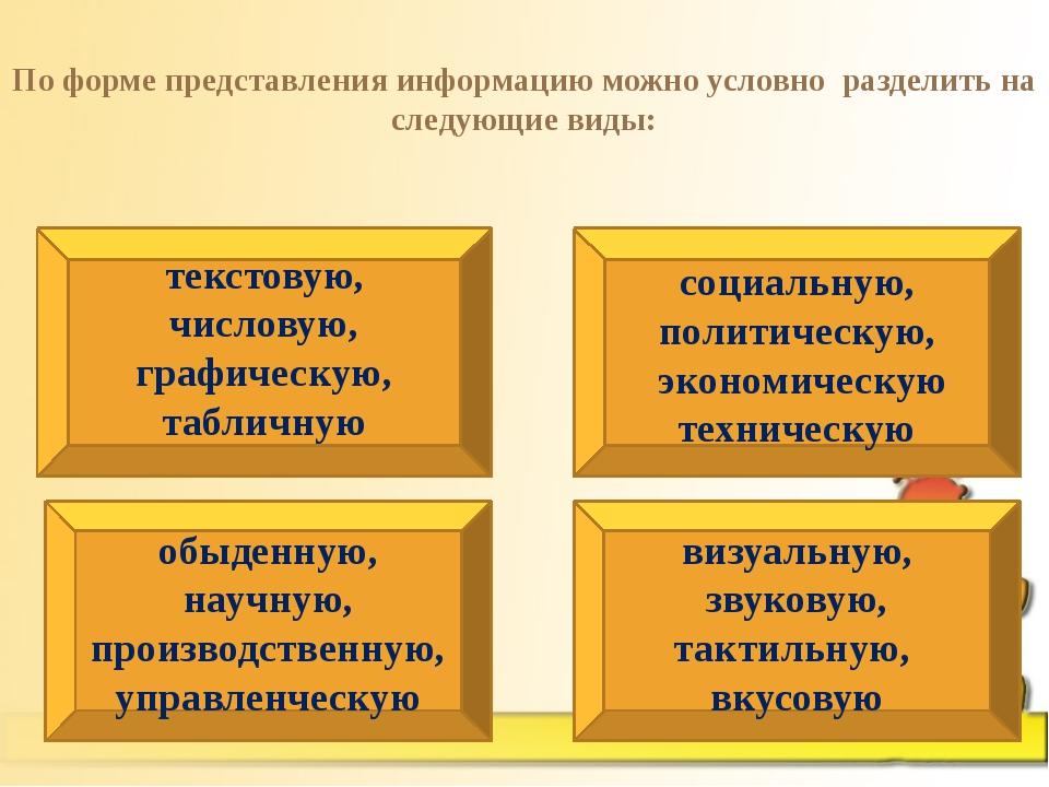 По форме представления информацию можно условно разделить на следующие виды:...