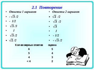 2.1 Повторение Кол-во верных ответовоценка 65 54 43 < 42