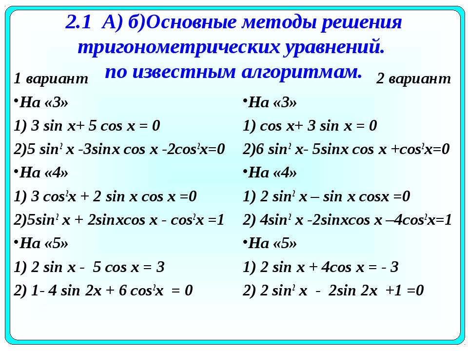 2.1 А) б)Основные методы решения тригонометрических уравнений. по известным а...