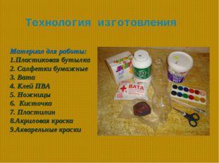 Технология изготовления Материал для работы: 1.Пластиковая бутылка  2. Салф