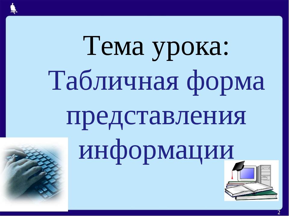 Тема урока: Табличная форма представления информации *