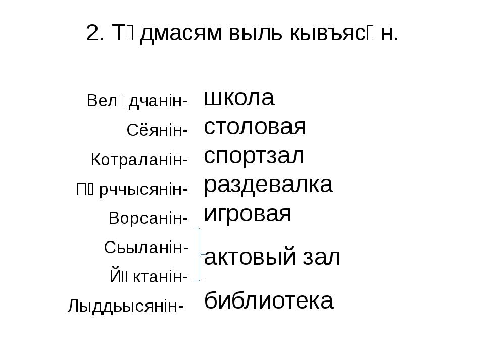 2. Тӧдмасям выль кывъясӧн. Велӧдчанiн- Сёянiн- Котраланiн- Пӧрччысянiн- Ворса...